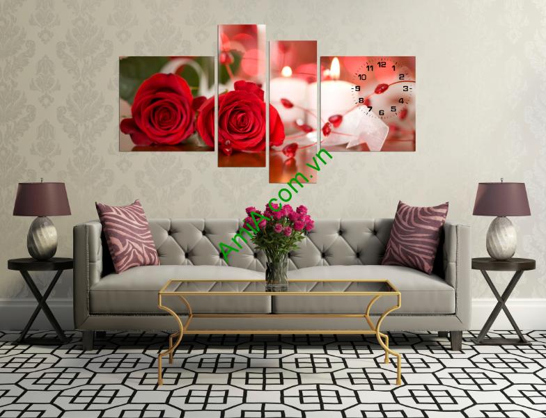 Tranh hoa hồng lãng mạn kiểu tranh ghép nhiều tấm hiện đại