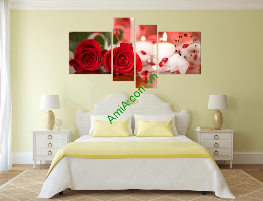 Tranh hoa hồng ađẹp treo phòng ngủ vợ chồng lãng mạn