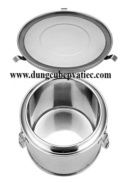 thung inox 2 lop, thùng inox 2 lớp, thùng cơm canh, thùng chuyển cơm canh, thùng inox nắp khóa