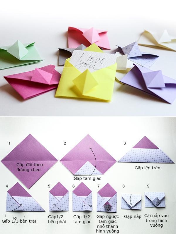Cách gấp origami hình phong thư đẹp
