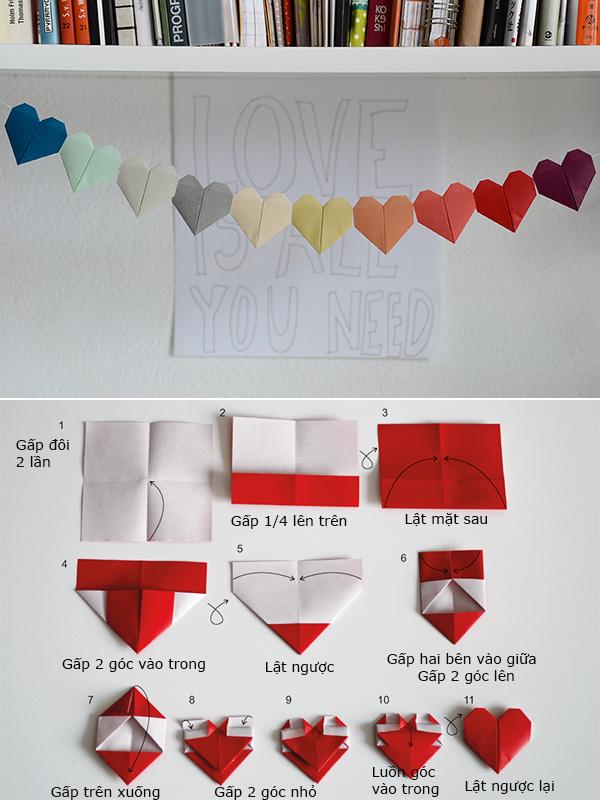 Cách gấp giấy hình trái tim đẹp