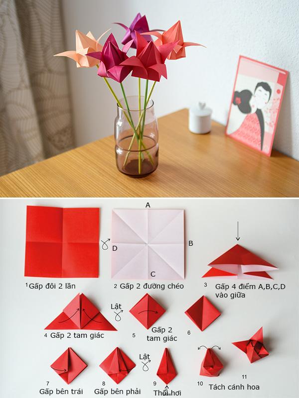 Kiểu gấp giấy hình bông hoa cute