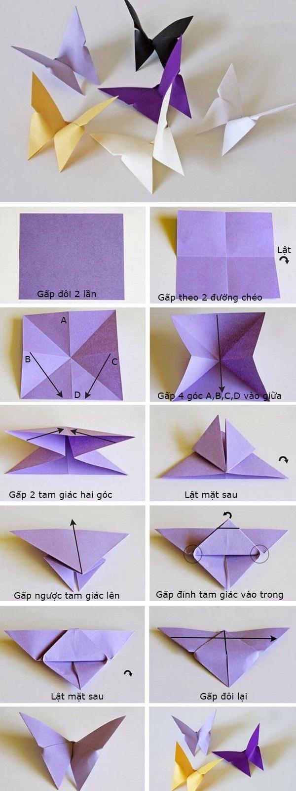 Cách gấp giấy con bướm orgami