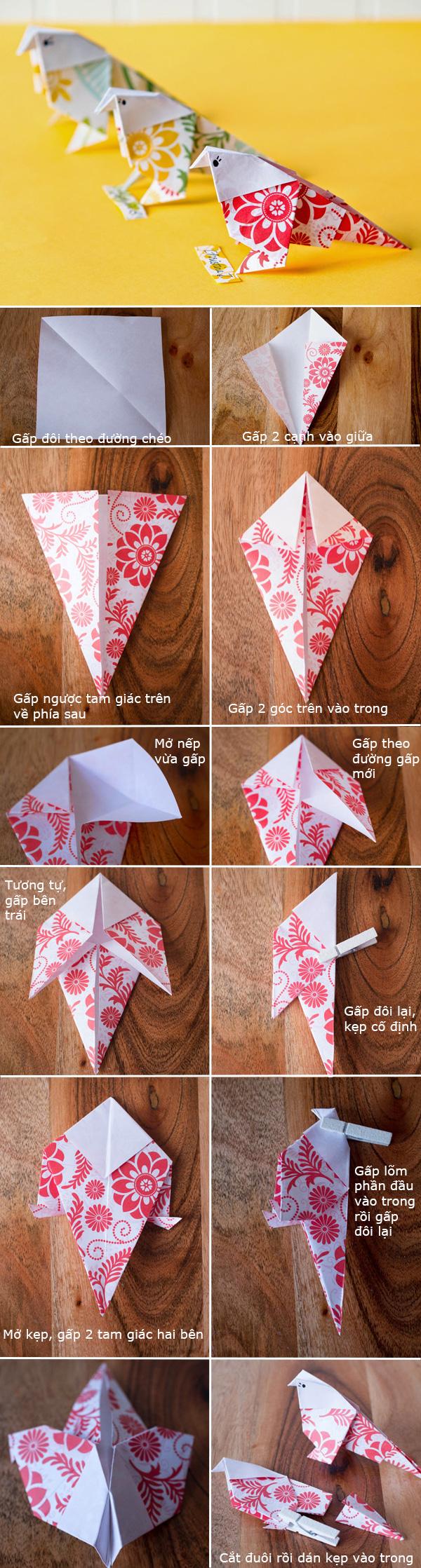 Cách gấp con chim origami đẹp