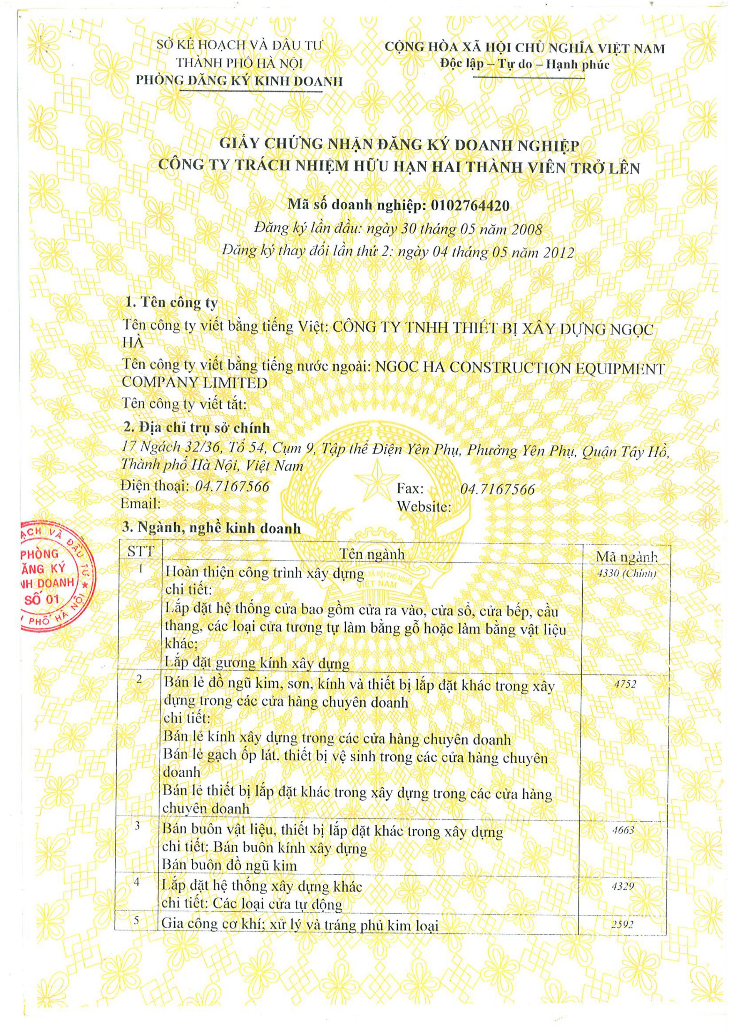 giấy đăng ký kinh doanh 1