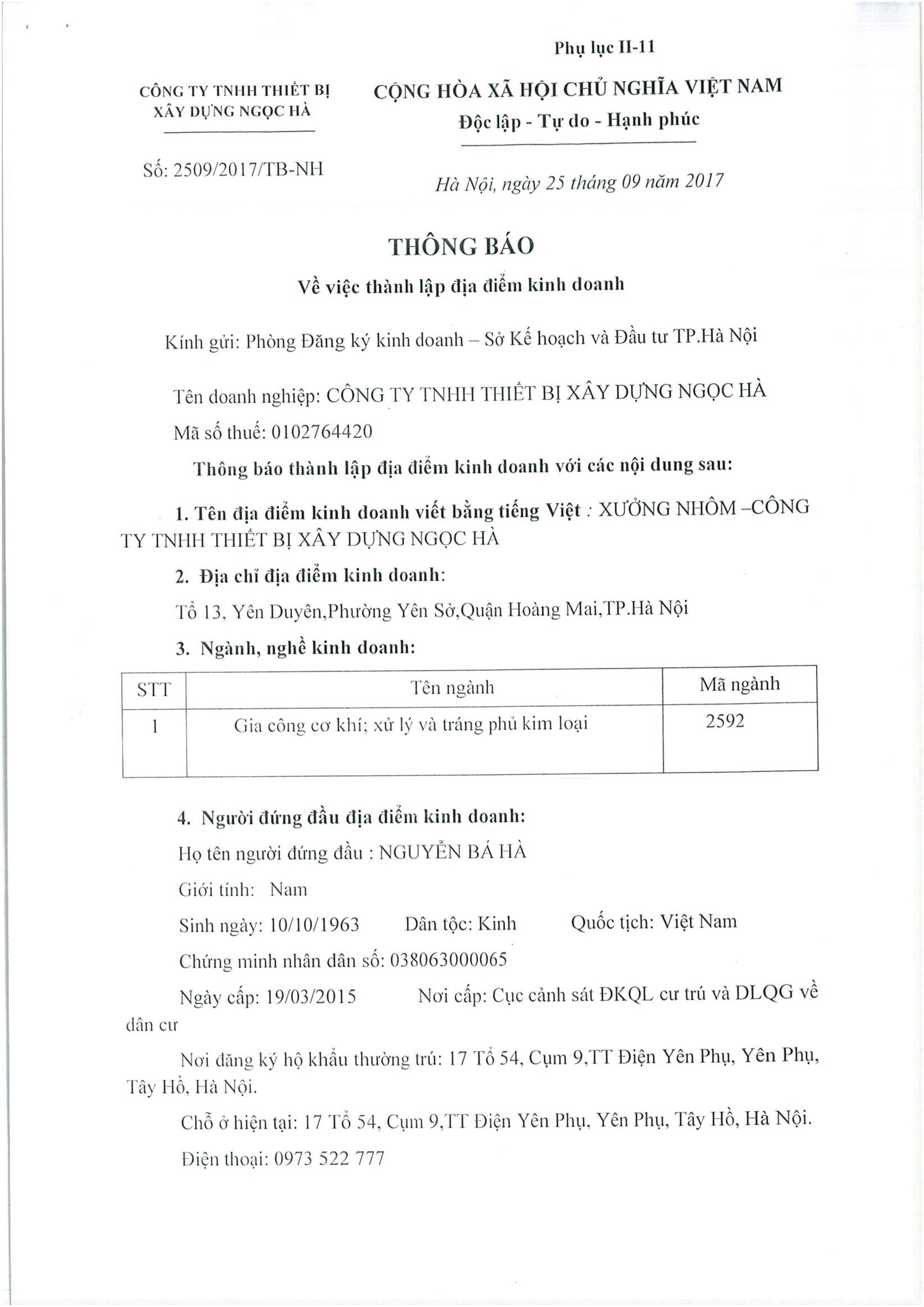 giấy đăng ký xưởng
