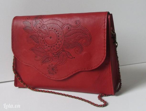 Túi xách handmade da cừu đỏ hoa văn