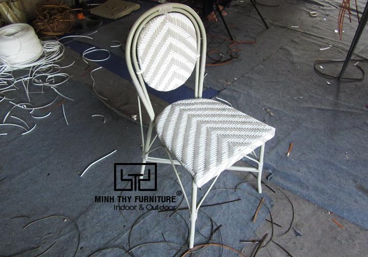 Ghế cafe giả mây lắp ráp thiết kế theo yêu cầu của khách hàng