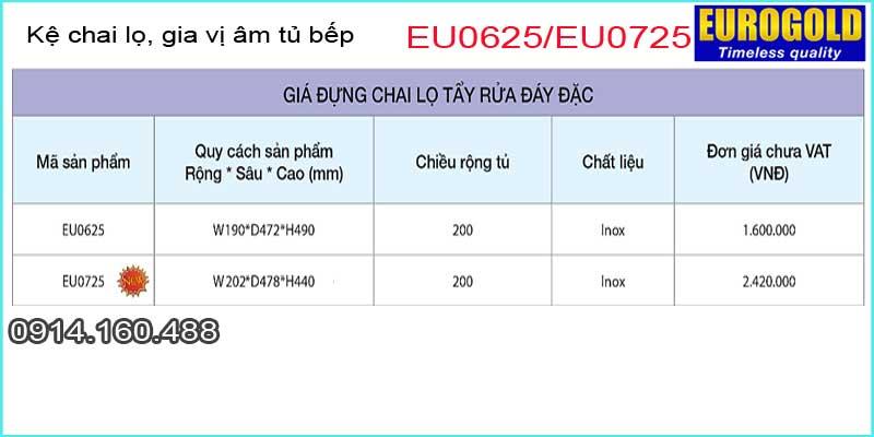 Kệ chai lọ tẩy rửa,gia vị đa năng âm tủ EUROGOLD-EU0625-EU0725