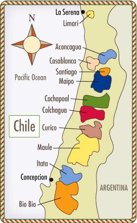 Sơ đồ vùng sản xuất rượu vang Chile