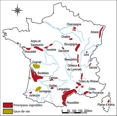 Sơ đồ các vùng trồng nho ở Pháp