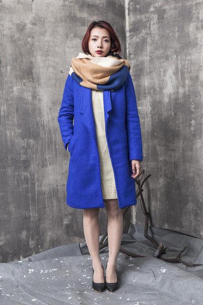 Áo khoác dạ trơn màu 2 túi chéo