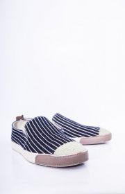 Giày nam mũi đắp khác màu họa tiết sọc dọc 18012