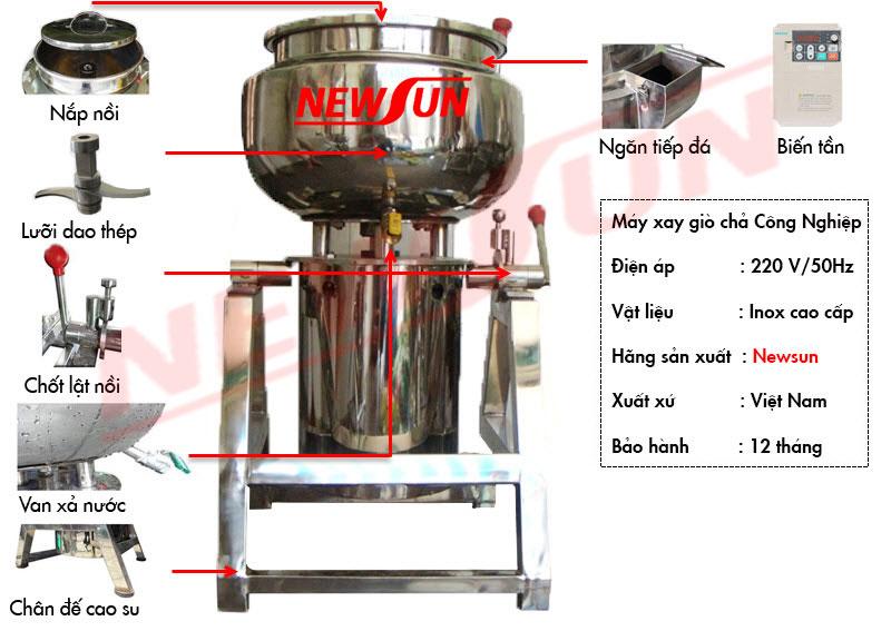 sơ đồ cấu tạo máy xay giò chả Newsun