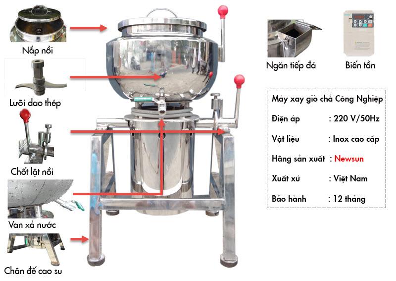sơ đồ cấu tạo máy xay giò chả 10 kg NEWSUN