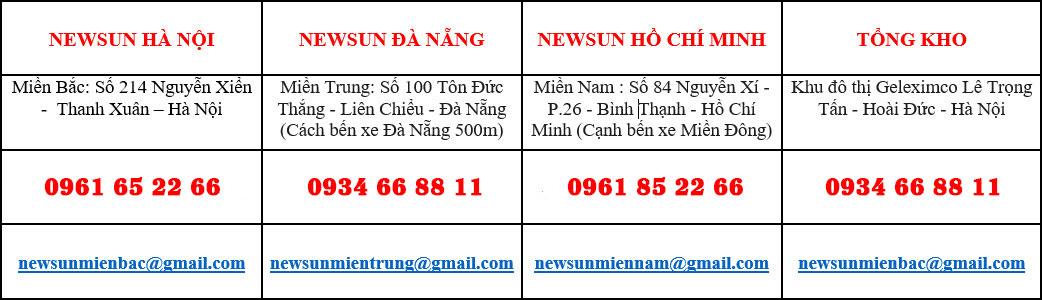 thông tin chi nhánh NEWSUN trên toàn quốc