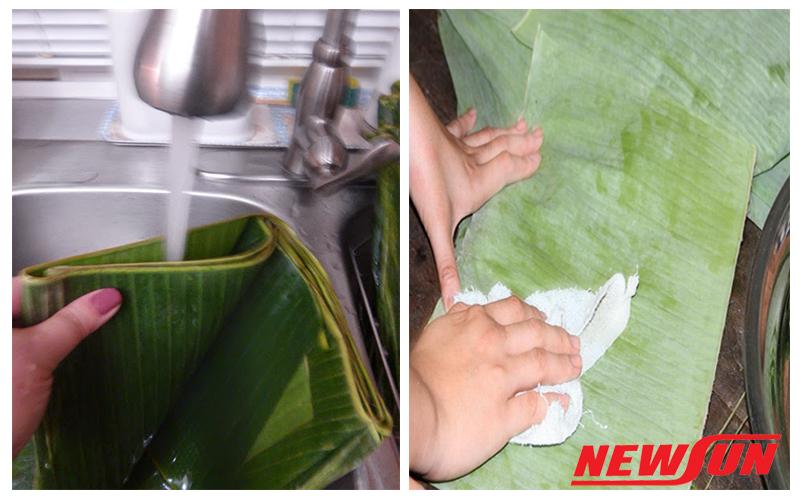 rửa sạch lá chuối và lau khô