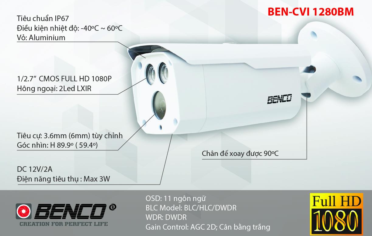 Thông số kỹ thuật camera BEN - CVI1280BM