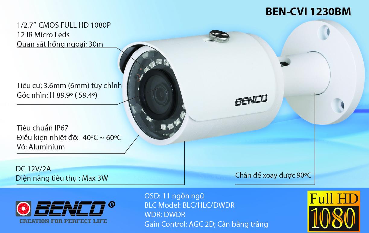 Thông số kỹ thuật của camera BEN - CVI1230BM