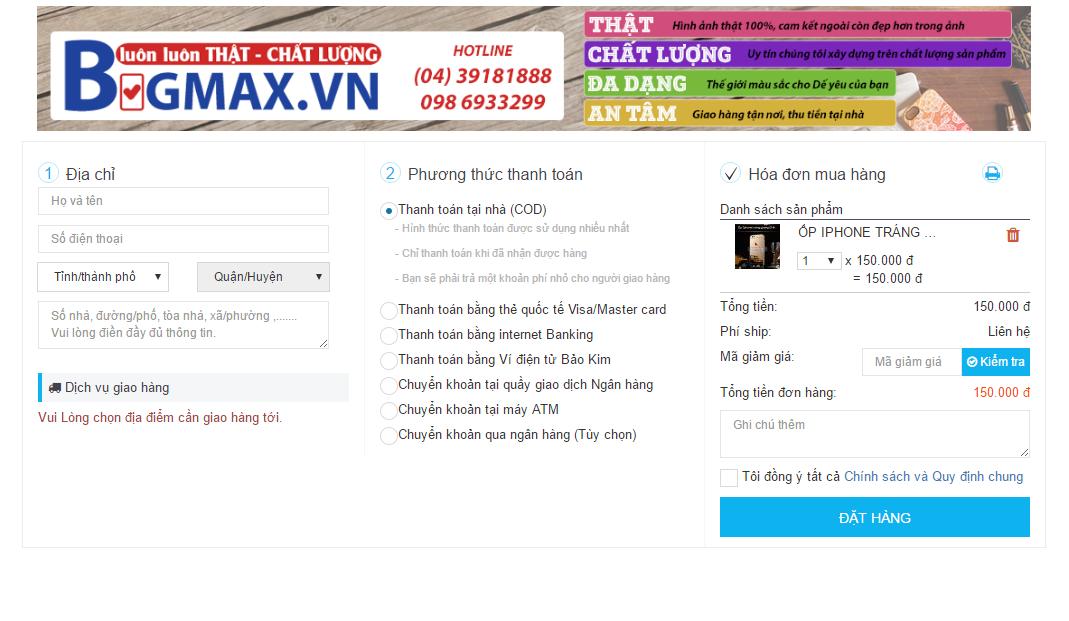 Hướng dẫn đặt hàng trên website www.BIGMAX.VN