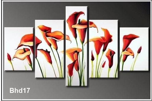 Mẫu tranh sơn dầu đẹp hình ảnh hoa Zum, kiểu tranh ghép bộ hiện đại