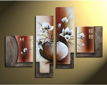Tranh sơn dầu hình ảnh bình hoa, vừa đẹp, sang trọng lại ý nghĩa tài lộc may mắn