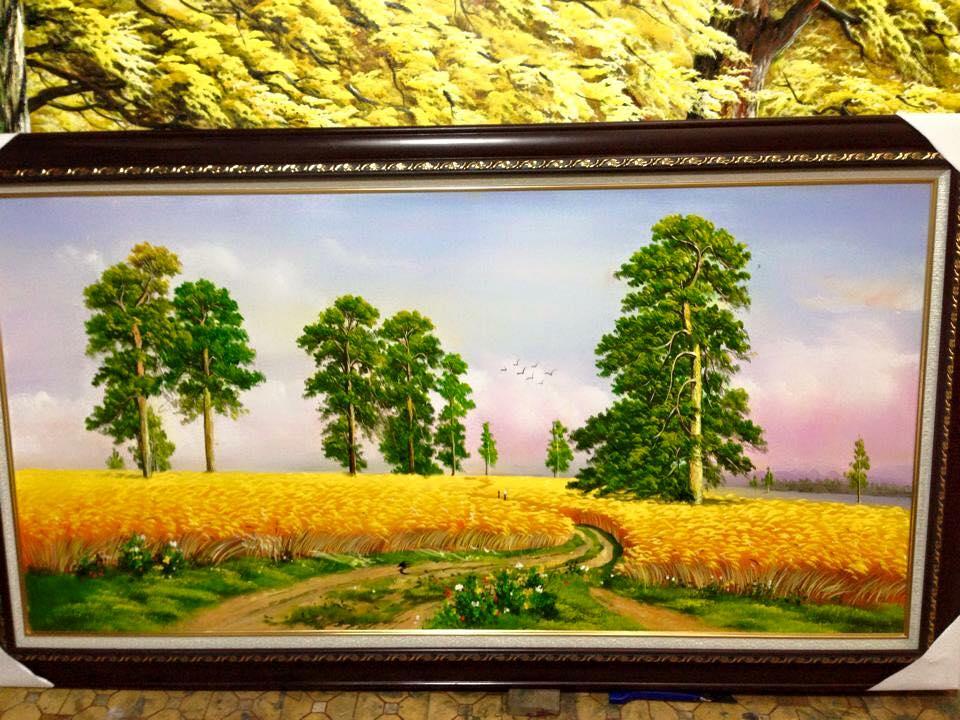 Tranh sơn dầu Con đường thắng lợi, chép theo mẫu tranh gốc của họa sĩ Ivan Shishkin