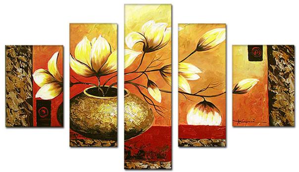 Tranh sơn dầu bình hoa kiểu tranh ghép nhiều tấm phong cách hiện đại