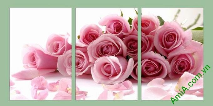 Hinh anh tranh trang tri phong ngu vo chong hoa hong tinh yeu lang man
