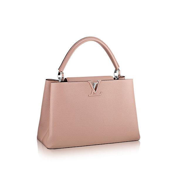 Túi xách LV Capucines MM hồng nhạt