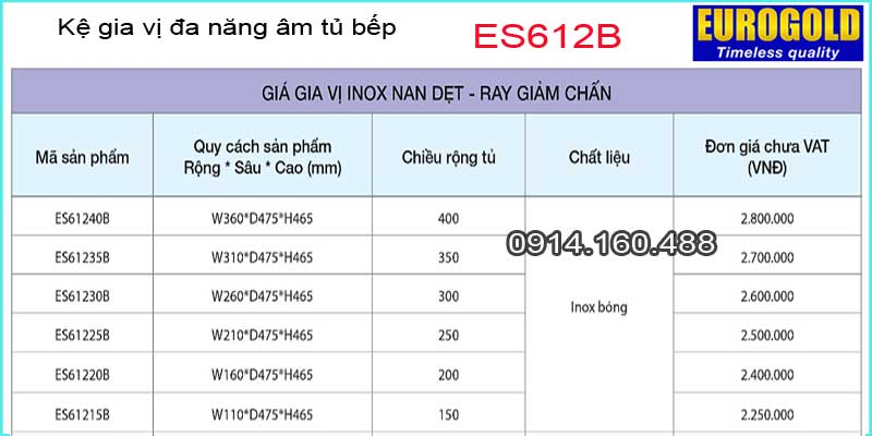 Kệ Dao thớt,gia vị đa năng âm tủ EUROGOLD-ES612