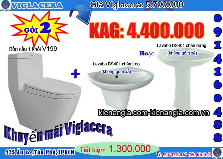 Mua bồn cầu NANO nung Viglacera tặng lavabo Kiến an gia 2017 V199