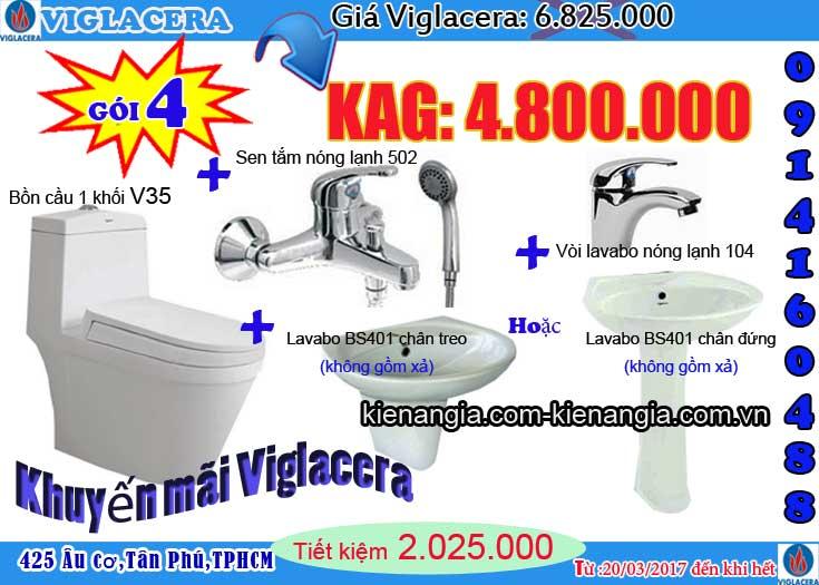 Mua bồn cầu NANO nung Viglacera tặng lavabo Kiến an gia 2017 V35