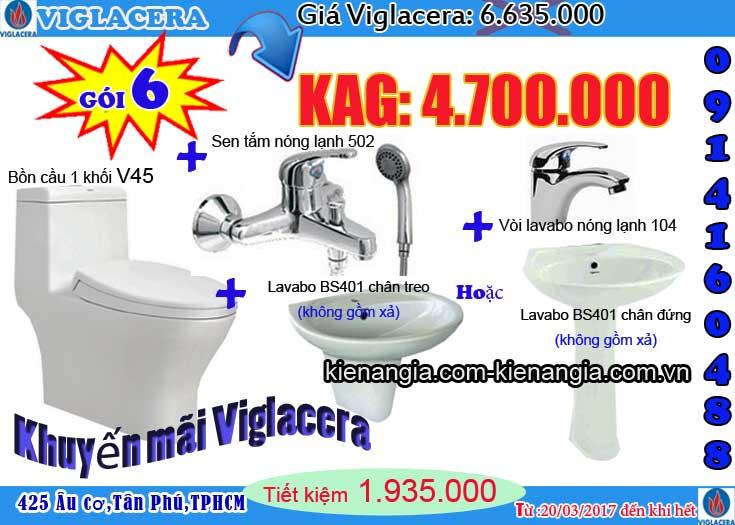 Mua bồn cầu NANO nung Viglacera tặng lavabo Kiến an gia 2017 V45