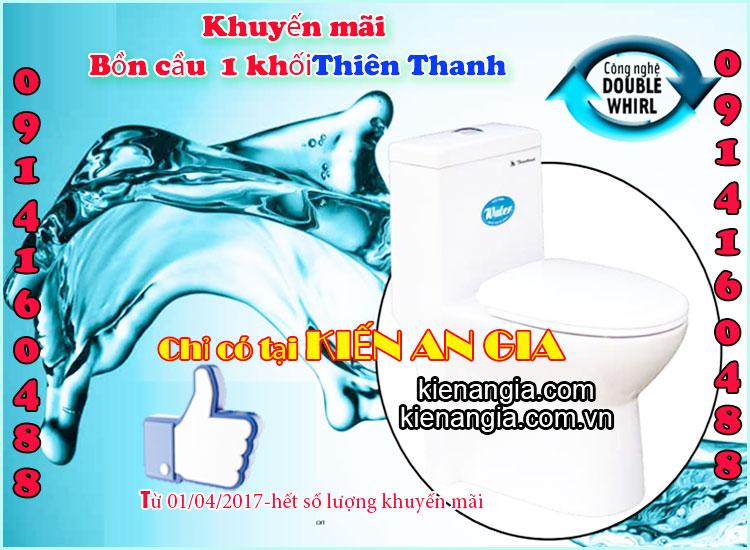 Khuyến mãi bồn cầu bệt két liền Thiên Thanh 2017 tại KIẾN AN GIA 0914160488