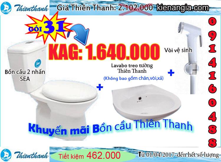 Khuyến mãi bồn cầu giá rẻ Thiên Thanh 2017 tại KIẾN AN GIA 0914160488