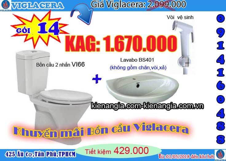 Khuyến mãi 2018 Bồn cầu sen vòi Viglacera VI66 0914160488