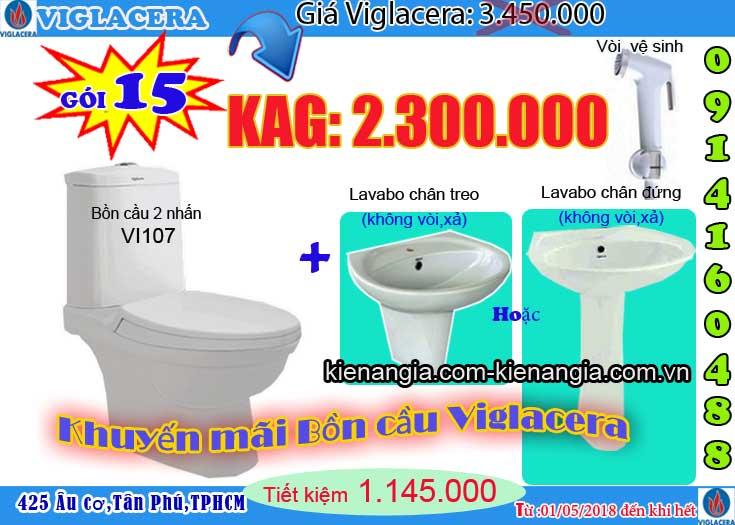 khuyến mãi bệt két rời,bàn cầu 2 khối giá rẻ VIGLACERA V107 2018