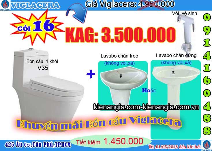 Khuyến mãi bệt két liền,bồn cầu 1 khối VIGLACERA 2018 V35
