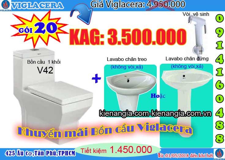Khuyến mãi bệt két liền,bồn cầu 1 khối VIGLACERA 2018 V42