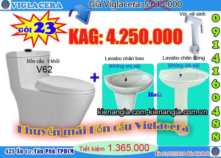 Khuyến mãi bệt két liền,bồn cầu 1 khối VIGLACERA 2018 V62