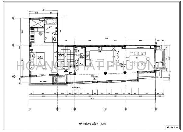 Mặt bằng lầu 1 với nhà bếp, phòng ăn, phòng ngủ và WC