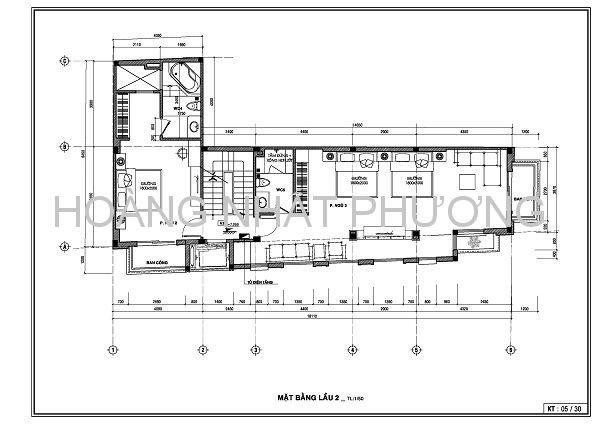 Mặt bằng tầng 2 với 2 phòng ngủ và 1 WC