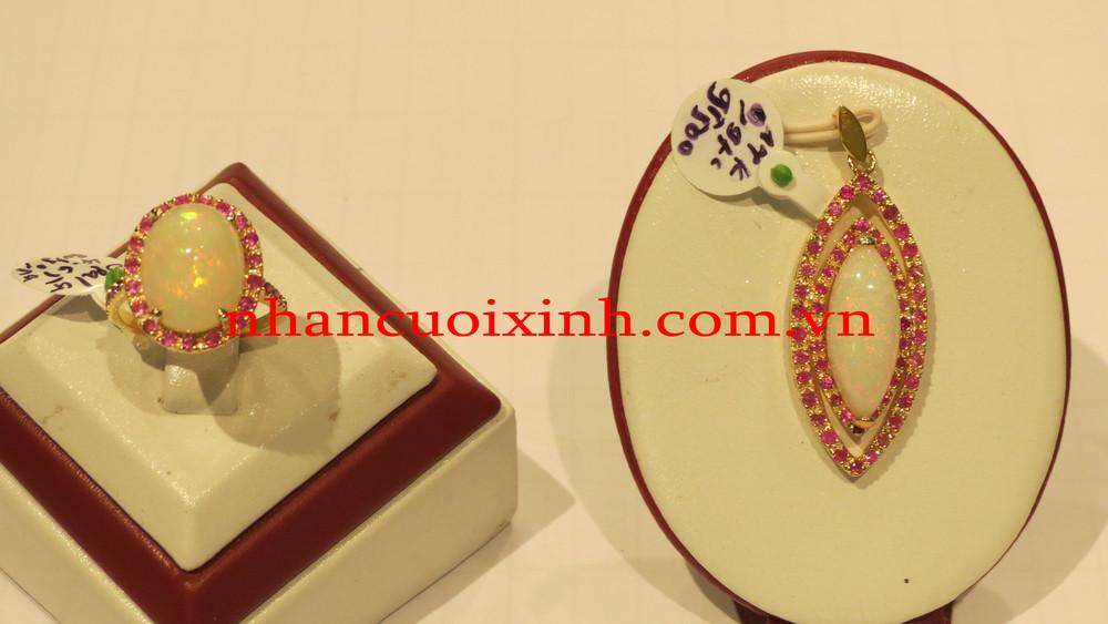 Bộ nhẫn mặt dây Opan-Ruby