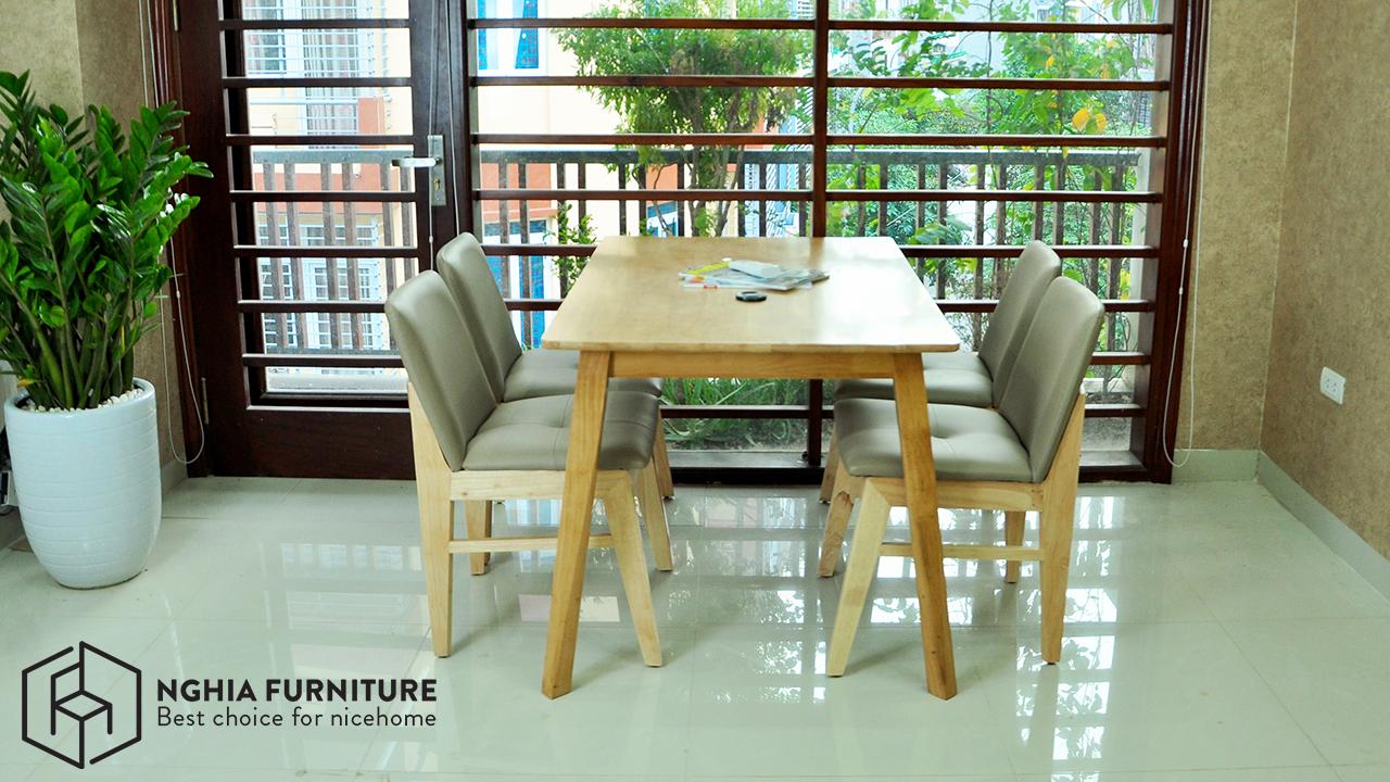 bàn ăn 4 ghế bằng gỗ đẹp tại Hà Nội