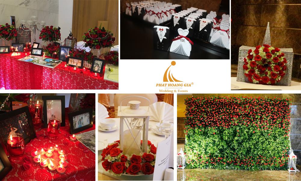 trang trí cưới tone đỏ