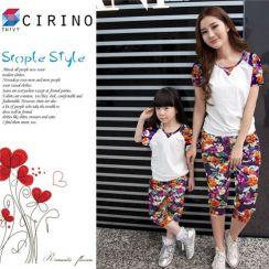 Combo bộ đồ lửng họa tiết hoa cho mẹ và bé CIRINO