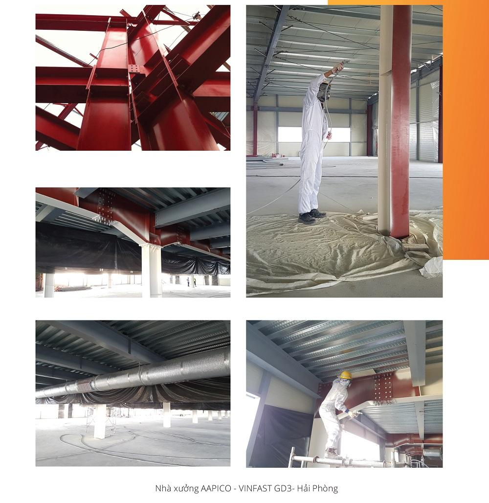 Thi công sơn chữa cháy nhà xưởng AAPICO - nhà máy Vinfast3